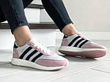 Женские (подростковые) кроссовки Adidas Iniki,белые с розовым, фото 2