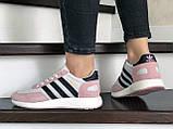 Женские (подростковые) кроссовки Adidas Iniki,белые с розовым, фото 3