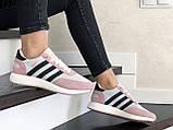 Женские (подростковые) кроссовки Adidas Iniki,белые с розовым, фото 4