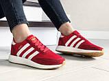 Женские (подростковые) кроссовки Adidas Iniki,красные, фото 2
