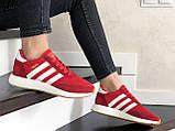 Женские (подростковые) кроссовки Adidas Iniki,красные, фото 4