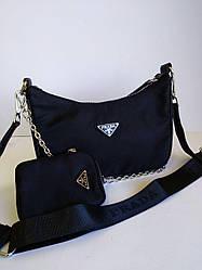 Женская сумка  Prada текстиль с кошельком