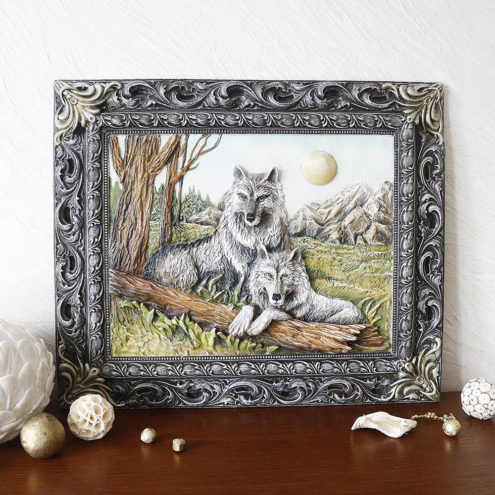 Картина пано объемная Пара волков