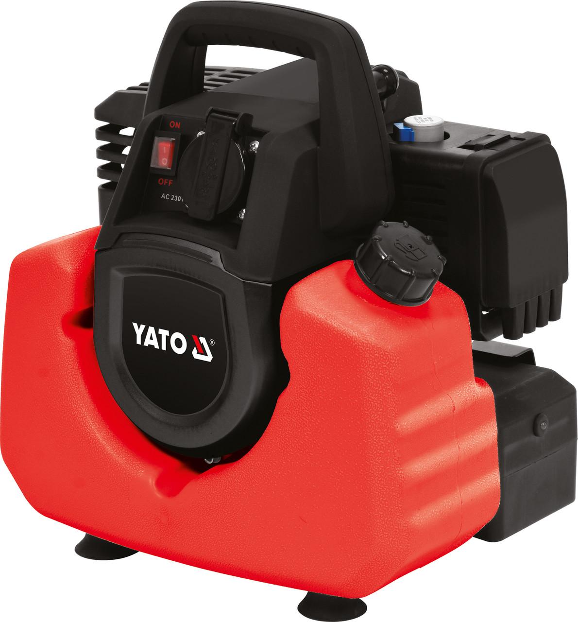 Генератор ел.струму інверторний бензиновий YATO: W=800/880 Вт, U=230 В, витрата - 0.75 л/р, бак - 3.5 л