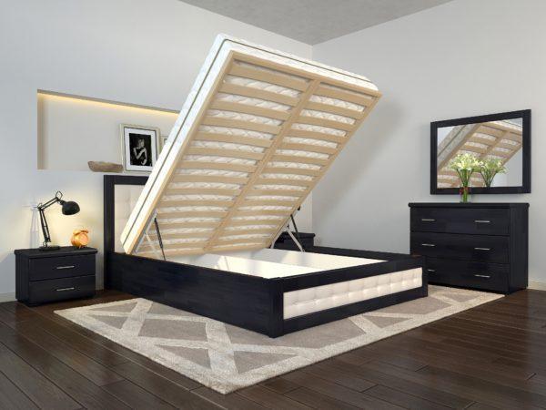 Кровать деревянная двуспальная Рената М с подъемным механизмом ТМ Arbor Drev