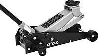 Домкрат гидравлический подкатной алюминиевый низкопрофильный с рычагом быстрого подйома YATO 3 т 145-500 мм