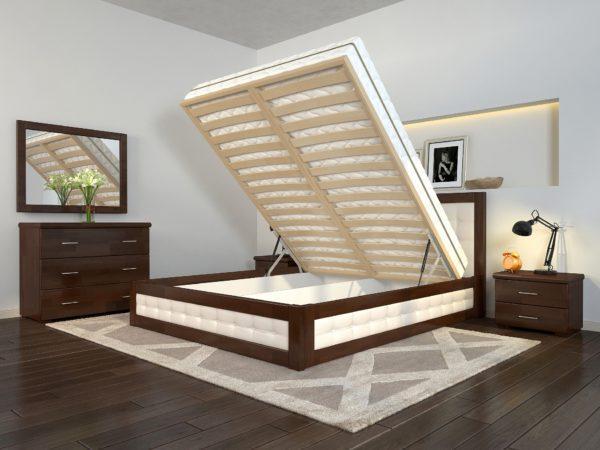 Кровать деревянная двуспальная Рената Д с подъемным механизмом ТМ Arbor Drev