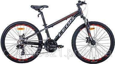"""Велосипед AL 24"""" Leon JUNIOR AM DD рама-12,5"""" антрацитовый с красным (м) 2020, фото 3"""