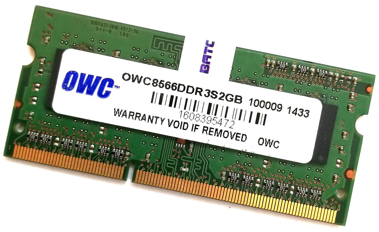 Оперативная память для ноутбука OWC SODIMM DDR3 2Gb 1066MHz 8500S 1R8 CL7 (OWC8566DDR3S2GB) Б/У