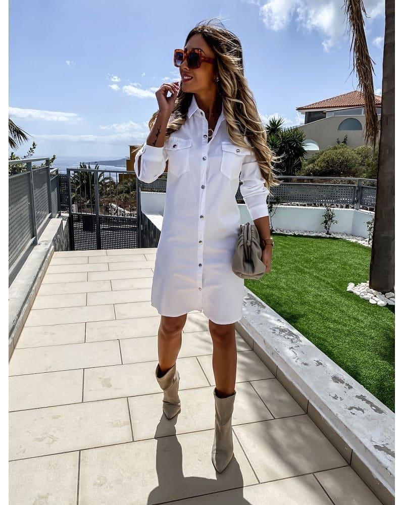 Стильное платье-рубашка по колено и длинным рукавом