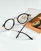 Очки имиджевые стеклянные женские в черной пластиковой оправе нулевки круглые, фото 3