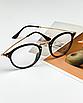 Очки имиджевые стеклянные женские в черной пластиковой оправе нулевки круглые, фото 10