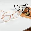 Очки имиджевые стеклянные женские в черной пластиковой оправе нулевки круглые, фото 8