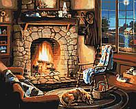 Картина по номерам У камина (КНО2236) раскраски по цифрам ТМ Идейка