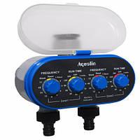 Таймер полива, подачи воды на 2 линии с шаровыми клапанами Aqualin YL21032