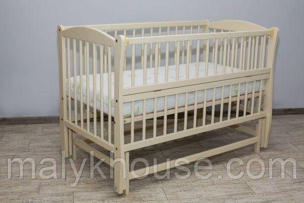 Ліжечко для новонароджених тм Дубок Еліт без ящика (колір слонова кістка)