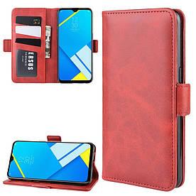 Чехол книжка для Realme C2 (RMX1941) боковой с магнитной застежкой, Гладкая кожа, Красный