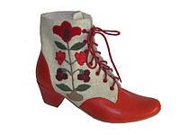 """Этно-обувь ботинки женские из конопли """"Этно"""" с аппликацией """"Родовое дерево"""""""