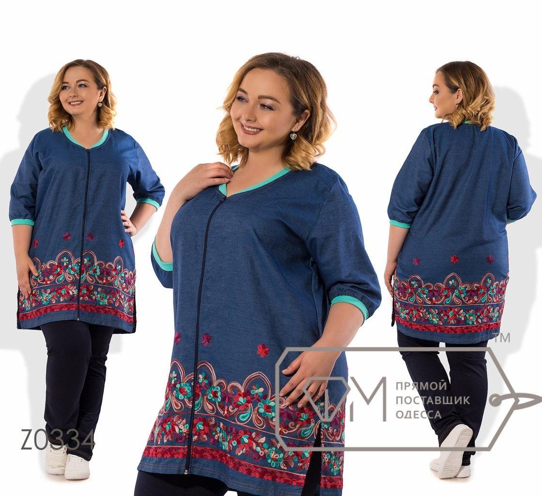 Лёгкий  женский брючный костюм-длинная кофта из летнего джинса  батал с 56 по 62 размер