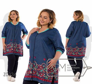 Лёгкий  женский брючный костюм-длинная кофта из летнего джинса  батал с 56 по 62 размер, фото 2