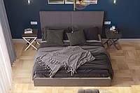 Двоспальне ліжко  у високоякісній таканині сірого кольору Шик Галичина Лайт