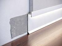 Алюминиевый плинтус скрытого монтажа для ЛЭД подсветки белый Р-2-60C.