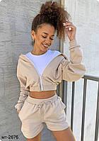 Женский стильный комплект-двойка : шорты и куртка с капюшоном Разные цвета, фото 1
