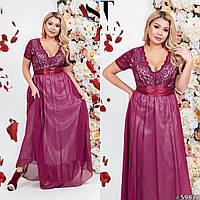 Вечернее платье в пол с гипюром и шифоном, размер 48-52