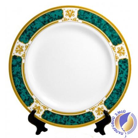 "Тарелка с орнаментом ""Зеленый мрамор"" для сублимации, D - 200 мм (площадь запечатки d-110 мм)"