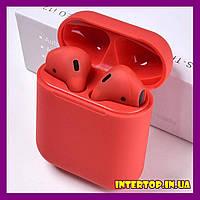 Беспроводные наушники i12 TWS AirPods mini в стиле аирподс блютус красный цвет аерпоц + чехол в Подарок