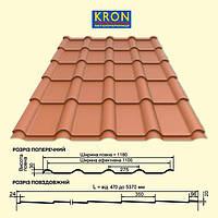 Металлочерепица KRON | Крон 350 | 400 | Прушински | 0,5 мм | RAL 9005