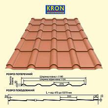 ▷ Металлочерепица KRON | Крон 350 | 400 | Прушински | 0,5 мм | RAL 9005