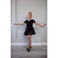 Шифоновая юбка для танцев Клеш черная