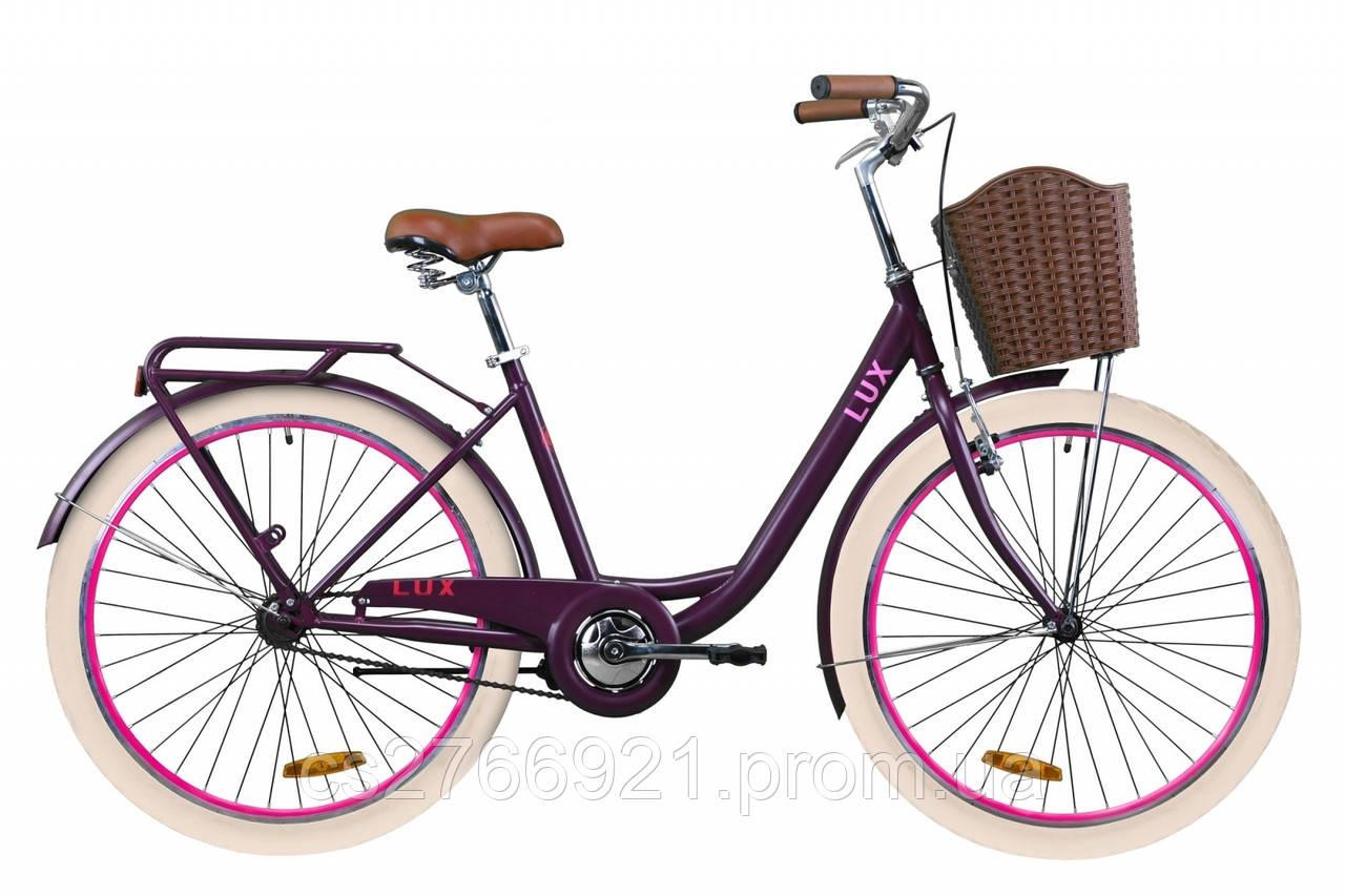 """Велосипед ST 26"""" Dorozhnik LUX рама-17"""" антрацитовый (м) с багажником зад St, с крылом St, с корзиной Pl 2020"""