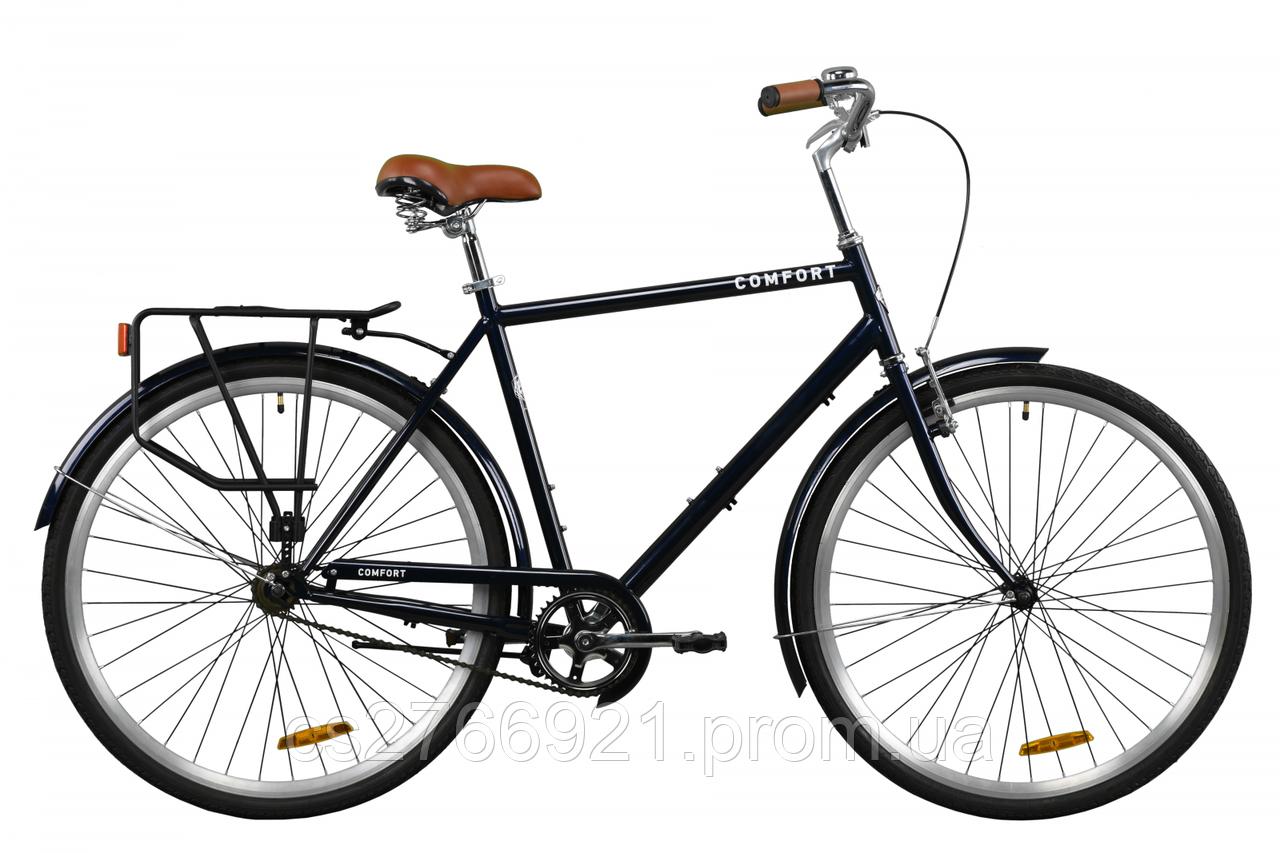 "Велосипед ST 28"" Dorozhnik COMFORT MALE рама-22"" серый с багажником зад St, с крылом St 2020"