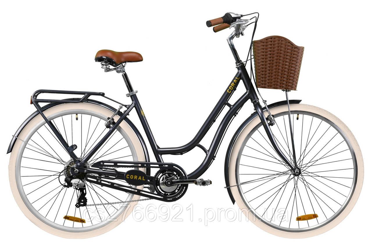 """Велосипед AL 28"""" Dorozhnik CORAL рама-19"""" рубиновый с багажником зад St, с крылом St, с корзиной Pl 2020"""