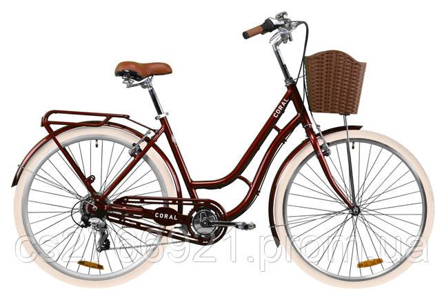 """Велосипед AL 28"""" Dorozhnik CORAL рама-19"""" рубиновый с багажником зад St, с крылом St, с корзиной Pl 2020, фото 2"""