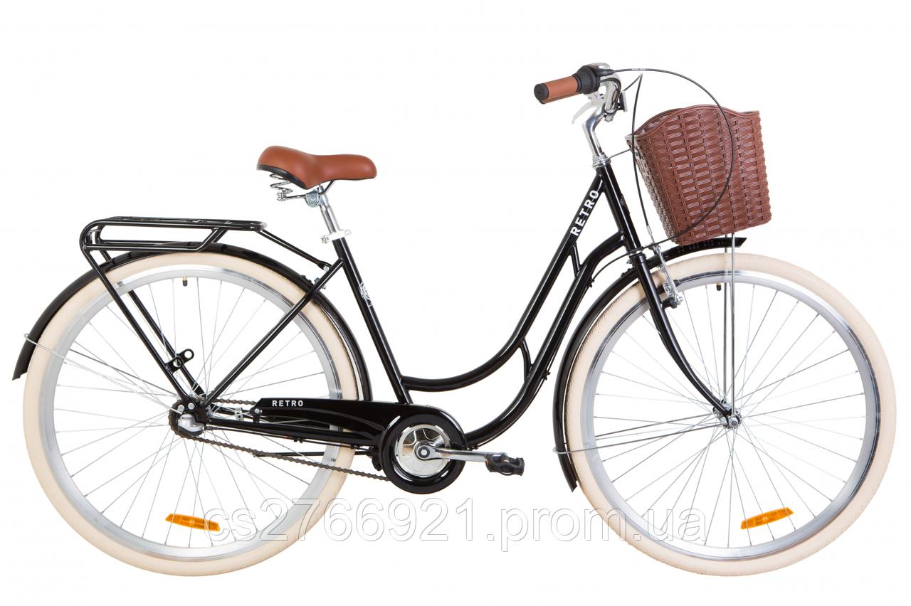 """Велосипед ST 28"""" Dorozhnik RETRO планет. рама-19"""" белый с багажником зад St, с крылом St, с корзиной Pl 2020"""