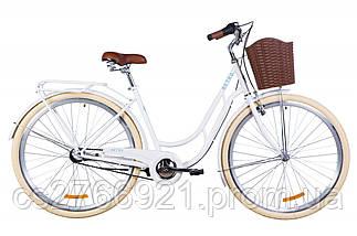 """Велосипед ST 28"""" Dorozhnik RETRO планет. рама-19"""" белый с багажником зад St, с крылом St, с корзиной Pl 2020, фото 3"""