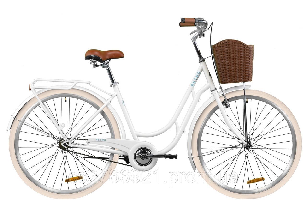 """Велосипед ST 28"""" Dorozhnik RETRO рама-19"""" рубиновый с багажником зад St, с крылом St, с корзиной Pl 2020"""