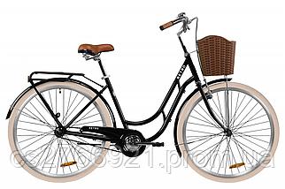 "Велосипед ST 28"" Dorozhnik RETRO рама-19"" рубиновый с багажником зад St, с крылом St, с корзиной Pl 2020, фото 3"
