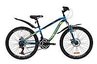 """Велосипед ST 24"""" Discovery FLINT AM DD с крылом Pl 2020 (лазурно-желтый с черным)"""