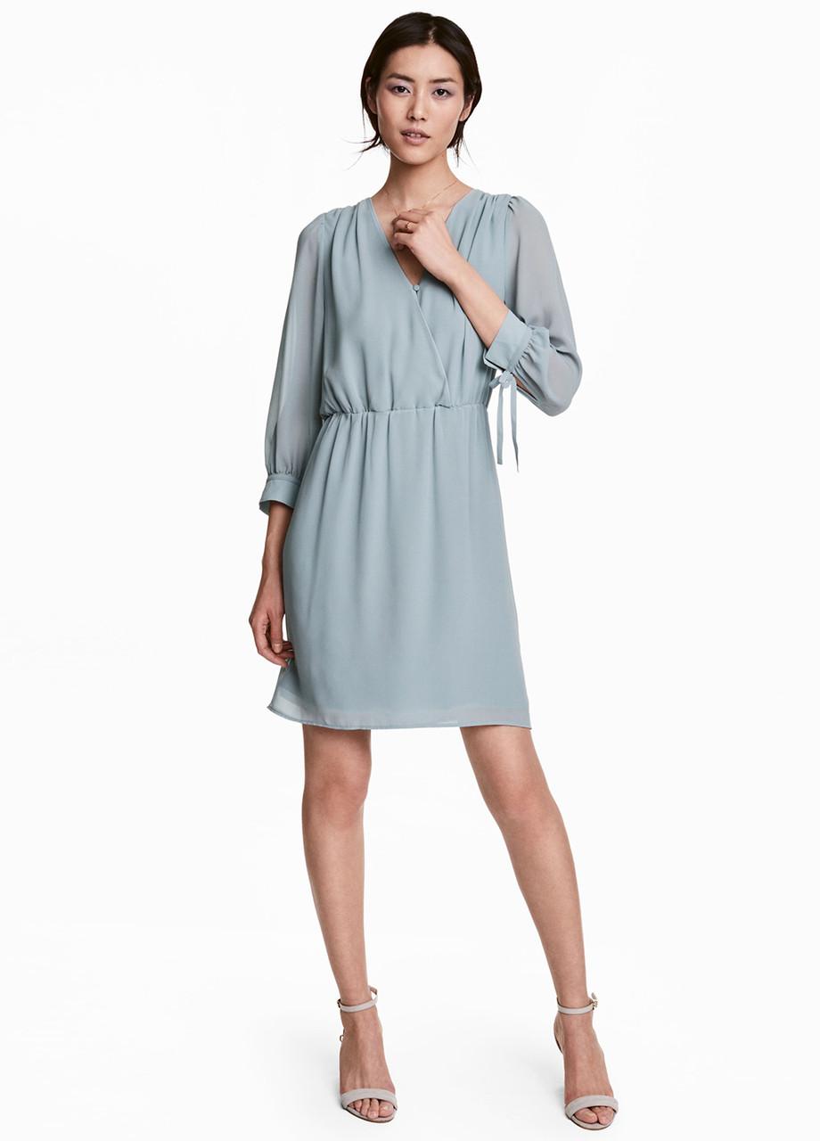 Серо-голубое платье H&M однотонное