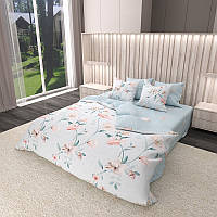 Комплект постельного белья Сатин 100% хлопок - Цветочное плетение 4 размера Евро