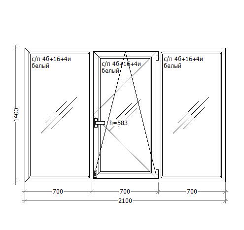 Металлопластиковое ПВХ окно, 2100x1400, GoodWin VEKA Euroline 60, поворотно-откидное
