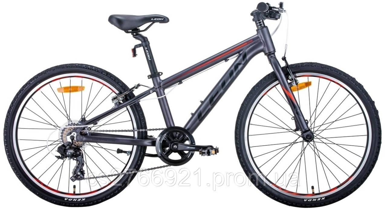 """Велосипед AL 24"""" Leon JUNIOR Vbr рама-12,5"""" антрацитовый с красным (м) 2020"""