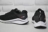Черные летние мужские кроссовки сетка на белой подошве Classica, фото 2