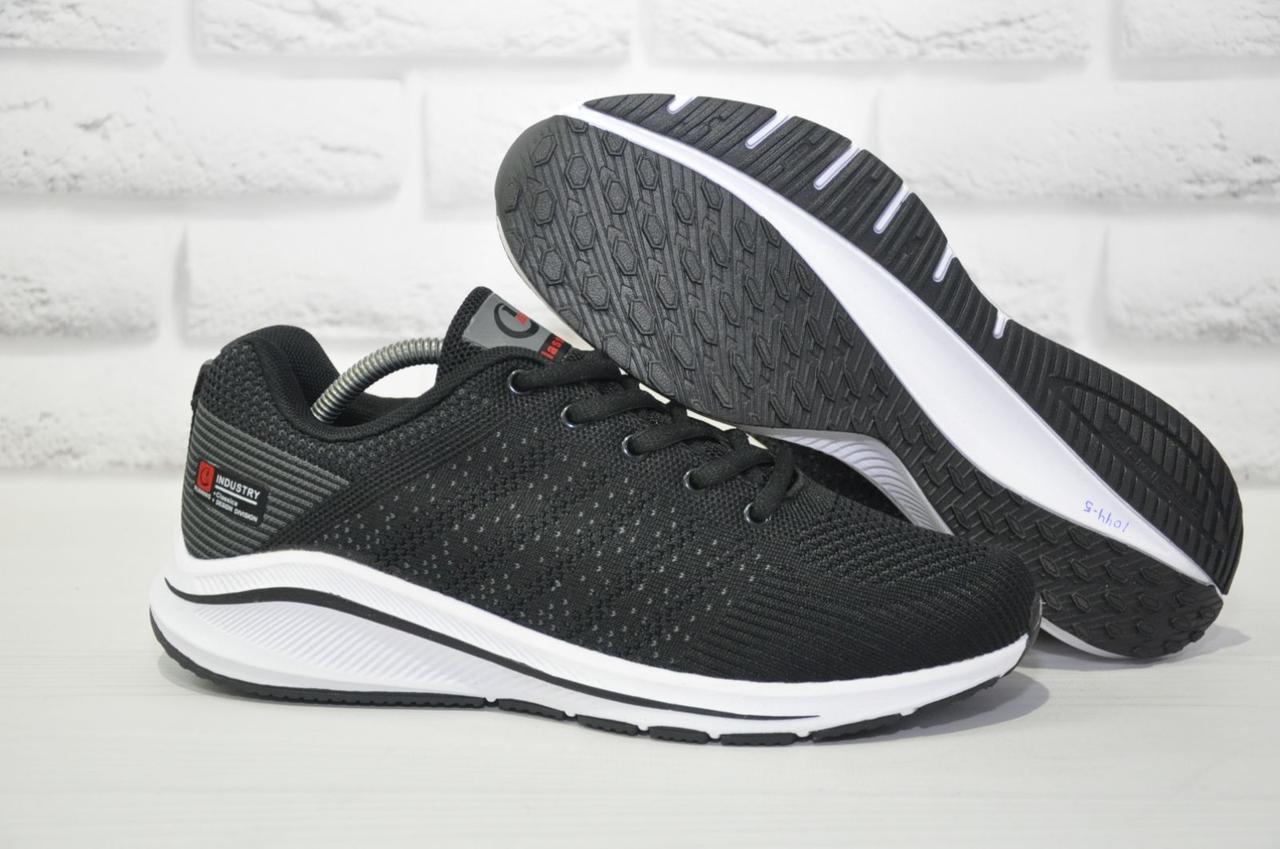 Черные летние мужские кроссовки сетка на белой подошве Classica