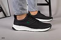 Кросівки Lacoste чоловічі чорні з натуральної шкіри, фото 1