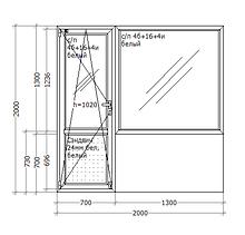 Металлопластиковое ПВХ окно, 2000х2000, балконный блок, GoodWin VEKA Euroline 60, поворотно-откидное